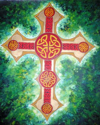 Green Celtic Cross Art